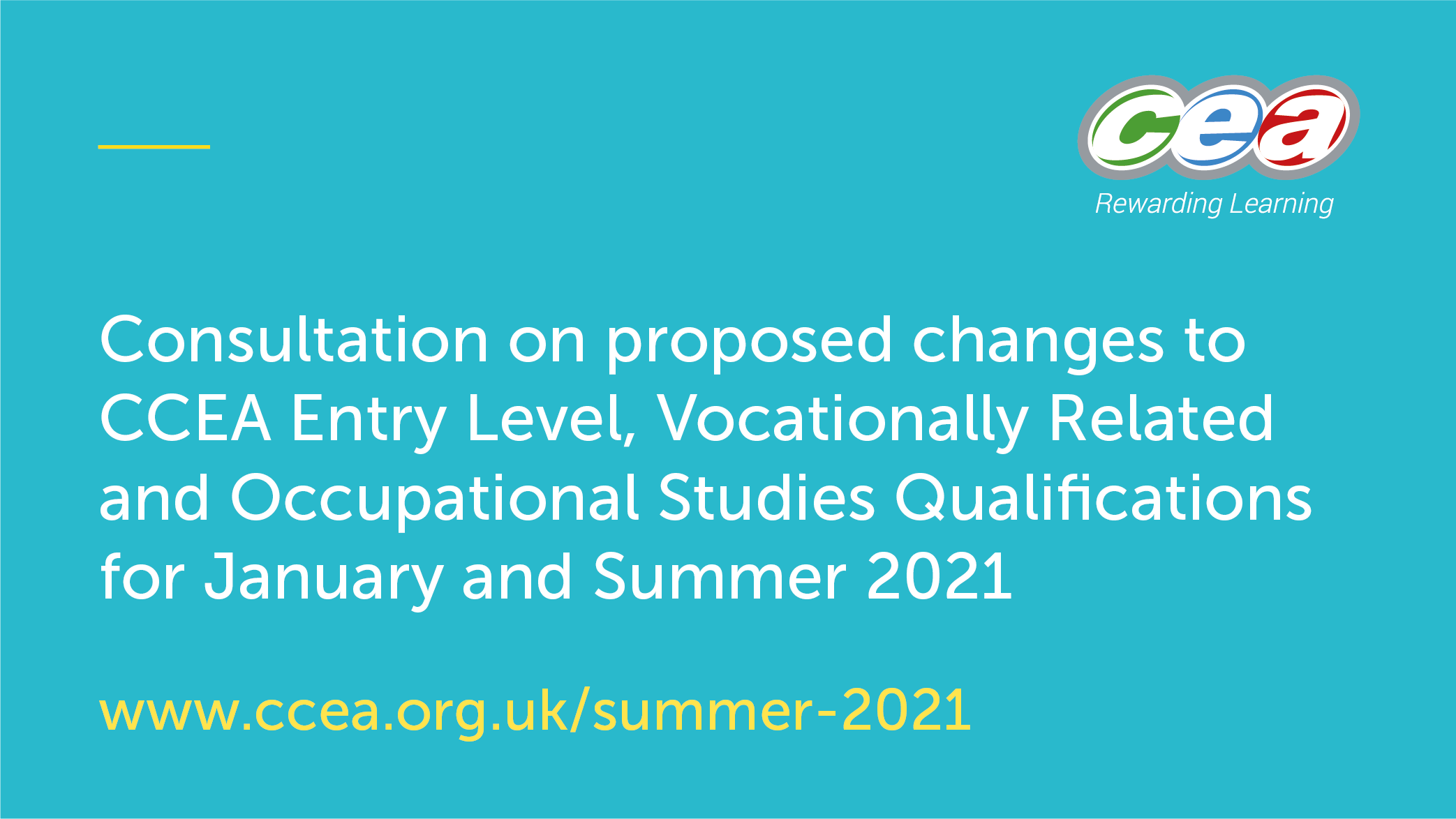 CCEA Launches Consultation on Proposed Changes to CCEA Entry Level, Vocationally Related and Occupational Studies Qualifications for January and Summer 2021