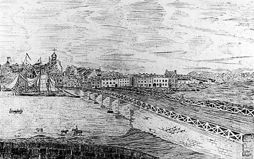 An engraving based on a drawing of Coleraine harbour in the early 1700s (Public domain, source Creative Commons)