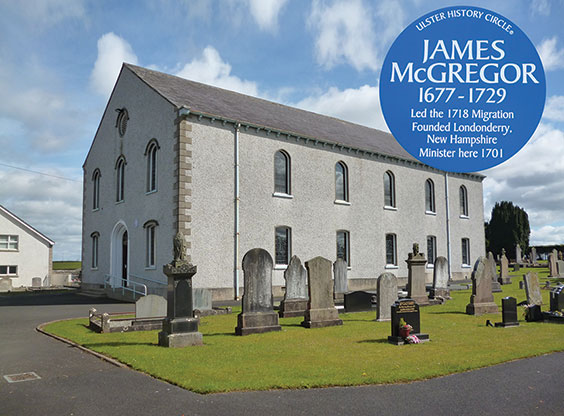 Aghadowey Presbyterian Church as it is today, and the blue plague to Rev. James McGregor