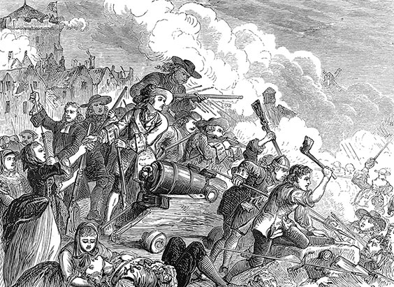 The Siege of Derry, the first major event of the Williamite War in Ireland, lasted almost three and a half months ending in July 1689. (Courtesy of 19th era / Alamy Stock Photo)